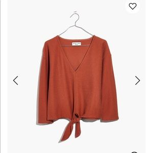Madewell long sleeve tie front top